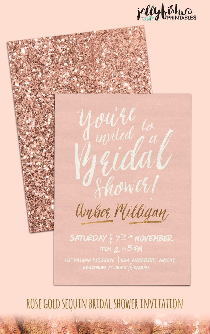 rose gold wedding invitations Rose Gold Bridal Shower Invitation Customized for You DIY Printable or Printed Blush Pink Gold Quartz Sparkle Wedding Glitter Shower invitations and