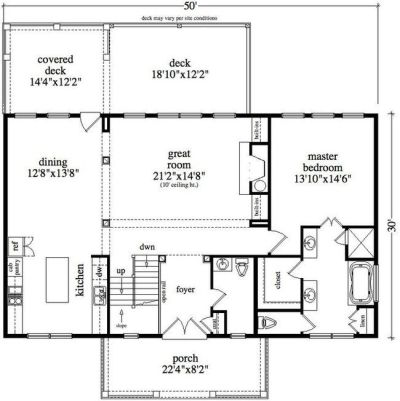 30 x 50 floor plan | lot 6 house plans | Pinterest | Cabin ...