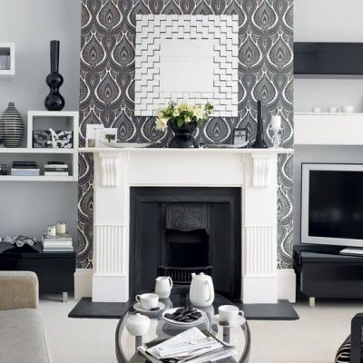 25+ best ideas about Wallpaper fireplace on Pinterest | Built in shelves, Alcove ideas and ...
