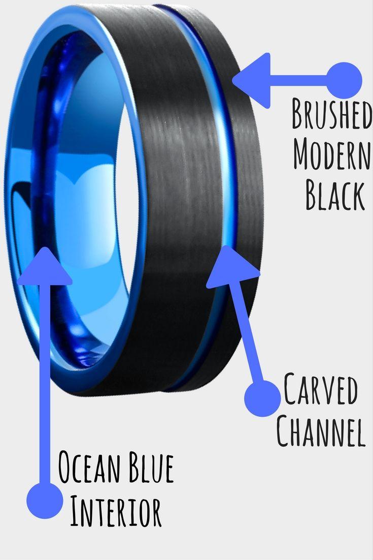 modern mens wedding bands modern mens wedding bands Mens Black Blue Brushed Tungsten Wedding Ring