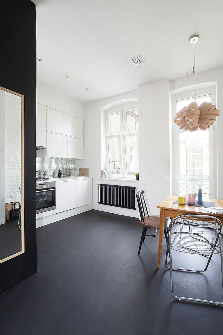 painting concrete floors concrete kitchen floor Black painted concrete floor for a white kitchen I d like my garage floor
