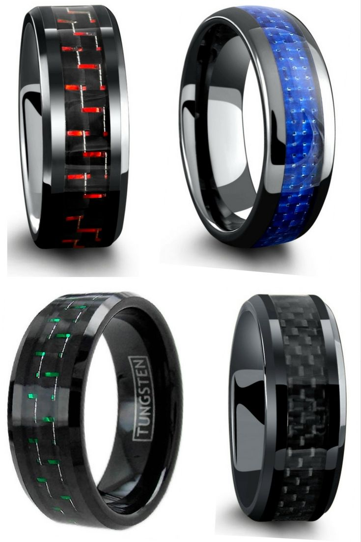 unique mens wedding bands male wedding bands Mens wedding rings All have genuine carbon fiber inlays going through the center of the