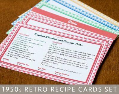 Printable Recipe Cards and Dividers, Retro 1950s Design, Editable PDF, 4x6 | Recipe box, Type ...