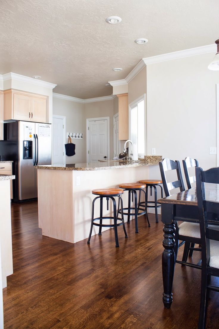 wood floor stain colors kitchen wood floors DIY How to Refinish Harwood Floors Kitchen before and after