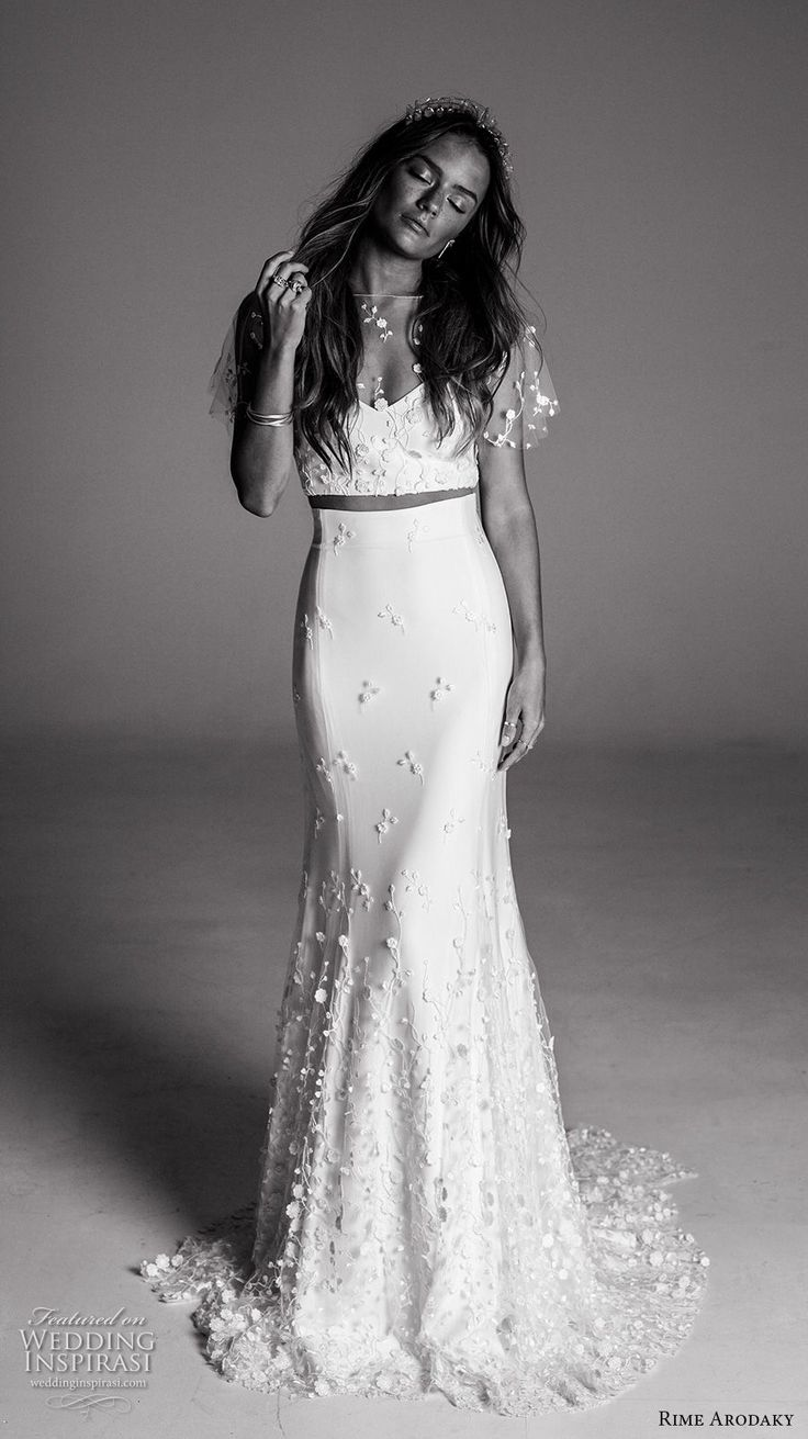 crop top two piece wedding dresses two piece wedding dress Rime Arodaky Fall Wedding Dresses