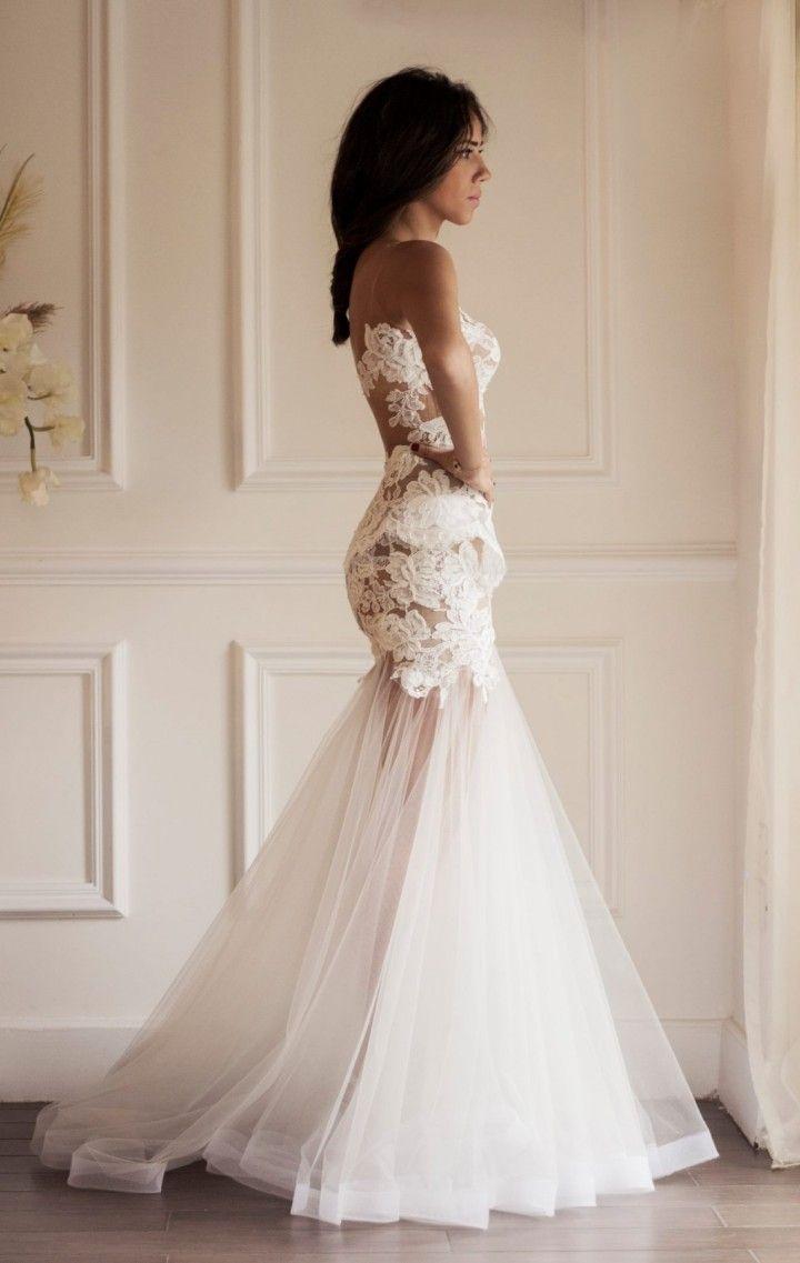 the wedding dress sheer lace wedding dress Yasmine Yeya Couture Wedding Dresses