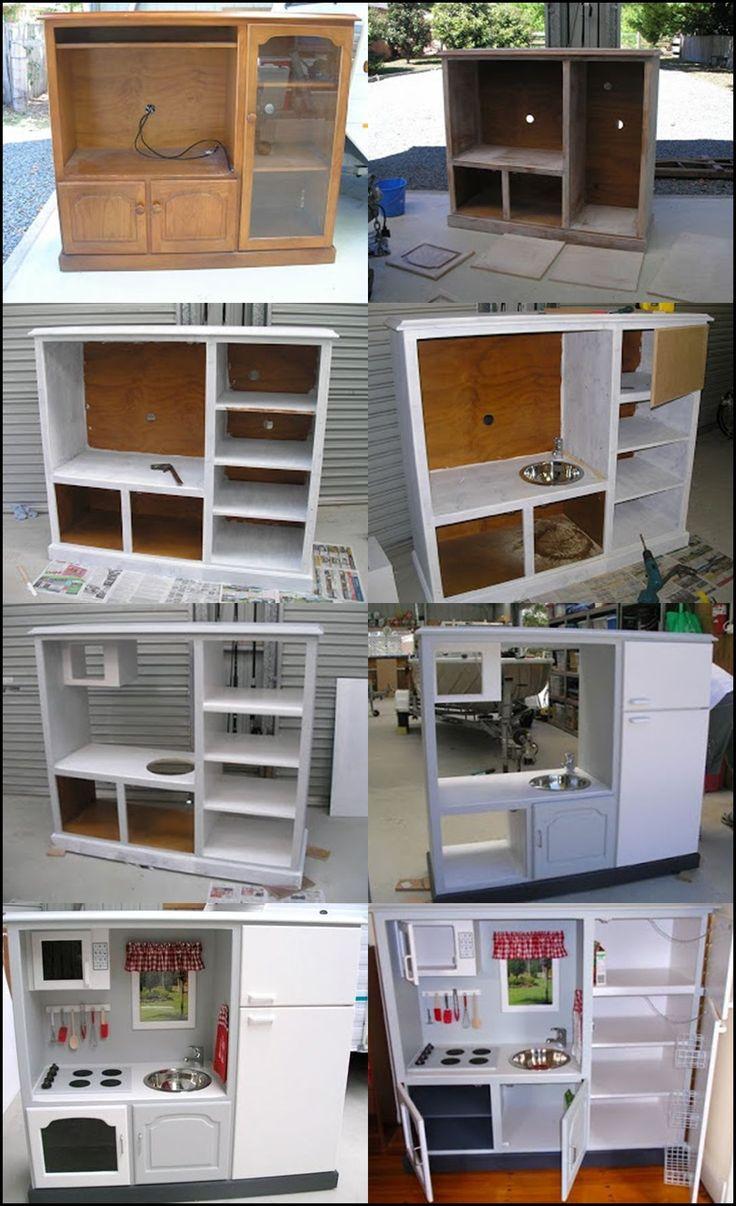 kids play kitchen diy kitchen ideas Wonderful DIY Play Kitchen from TV cabinets