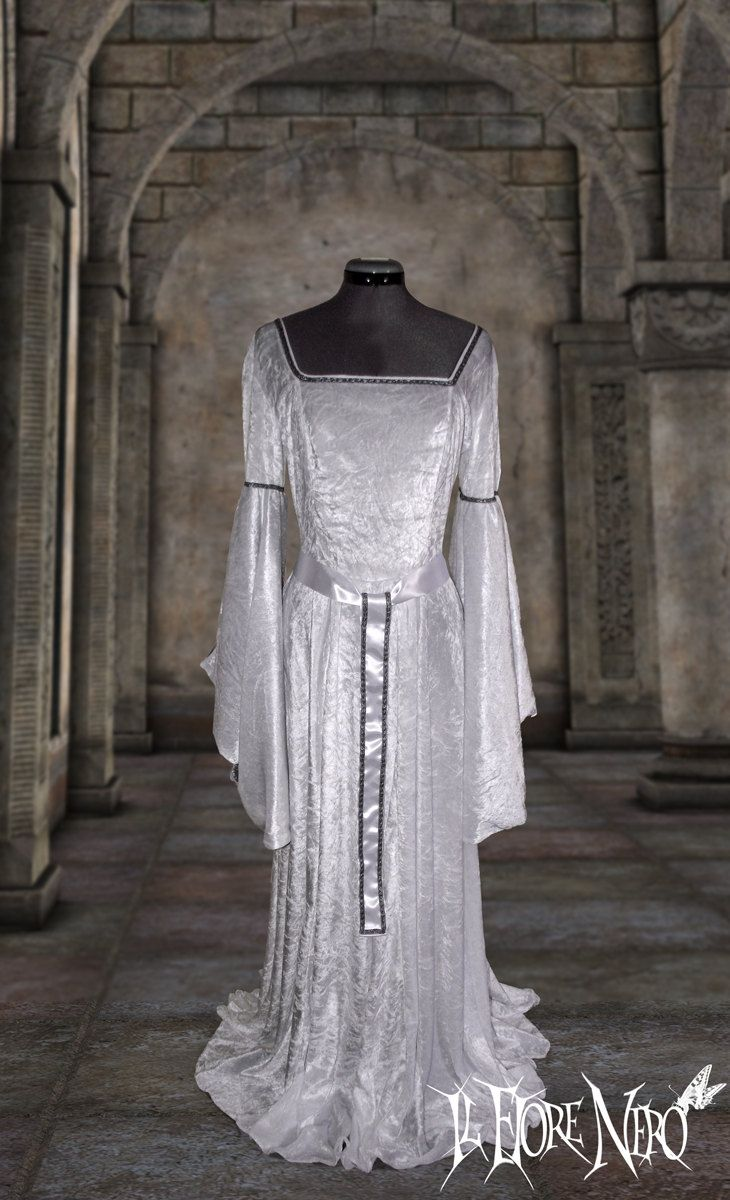 fantasy fashion wiccan wedding dress For orders only white medieval fantasy dress Isotta sizes Handfasting Medieval Celtic wedding bridal gothic Fantasy wiccan