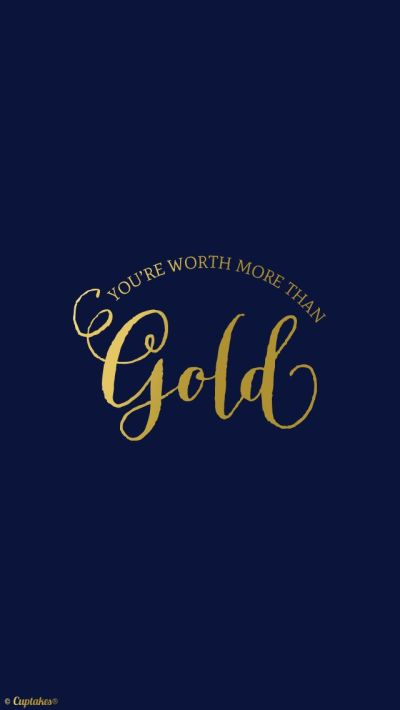 Navy Gold 'Youre worth more' quote iphone phone wallpaper background lock screen | Pretty Tech ...
