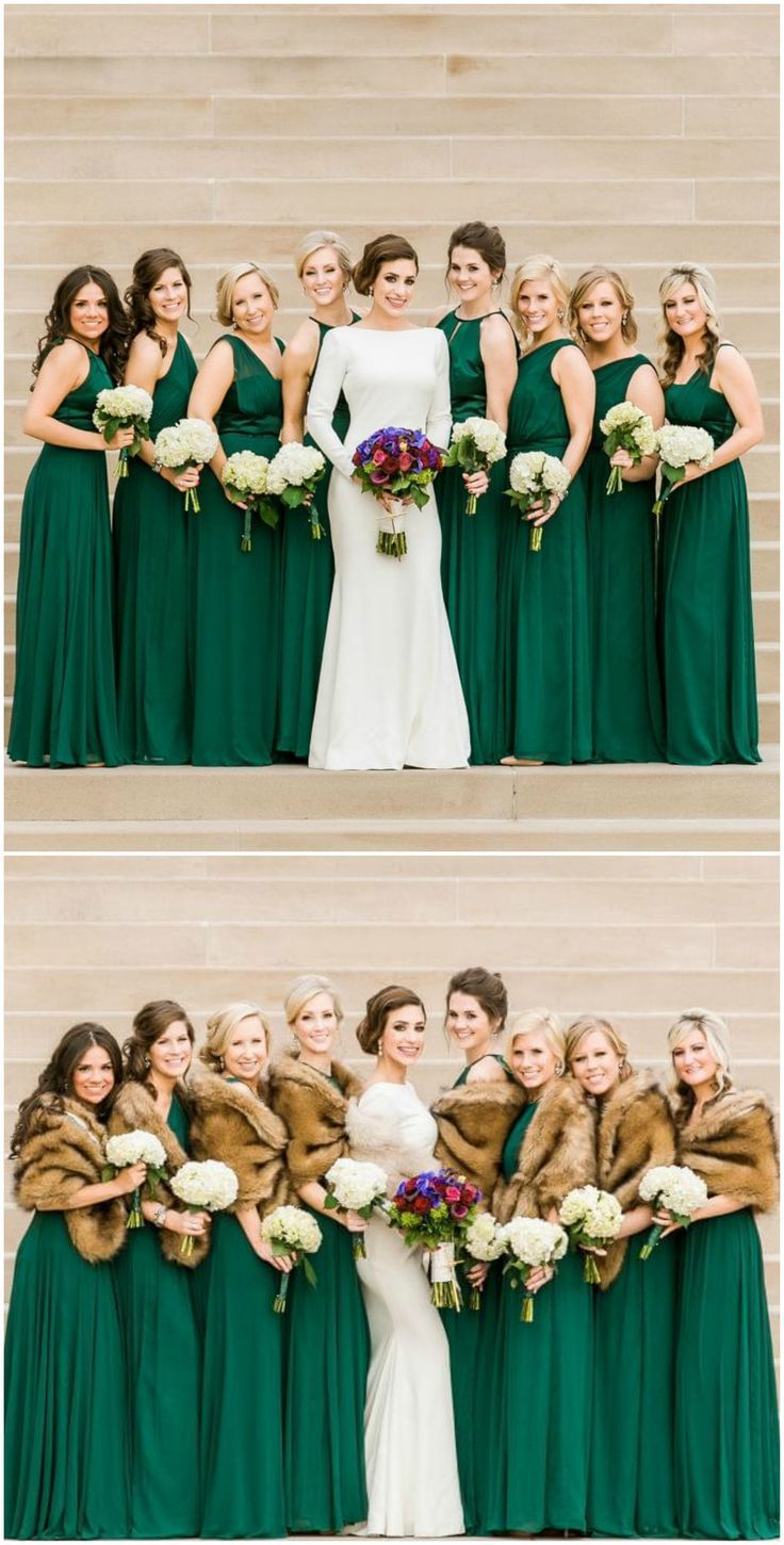 green wedding dresses green wedding dresses Emerald green gowns bridesmaids modern wedding dress fur stoles satin