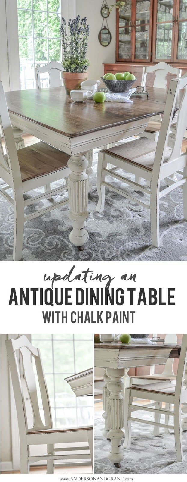 antique dining tables kitchen table and chairs Antique Dining Table Updated with Chalk Paint