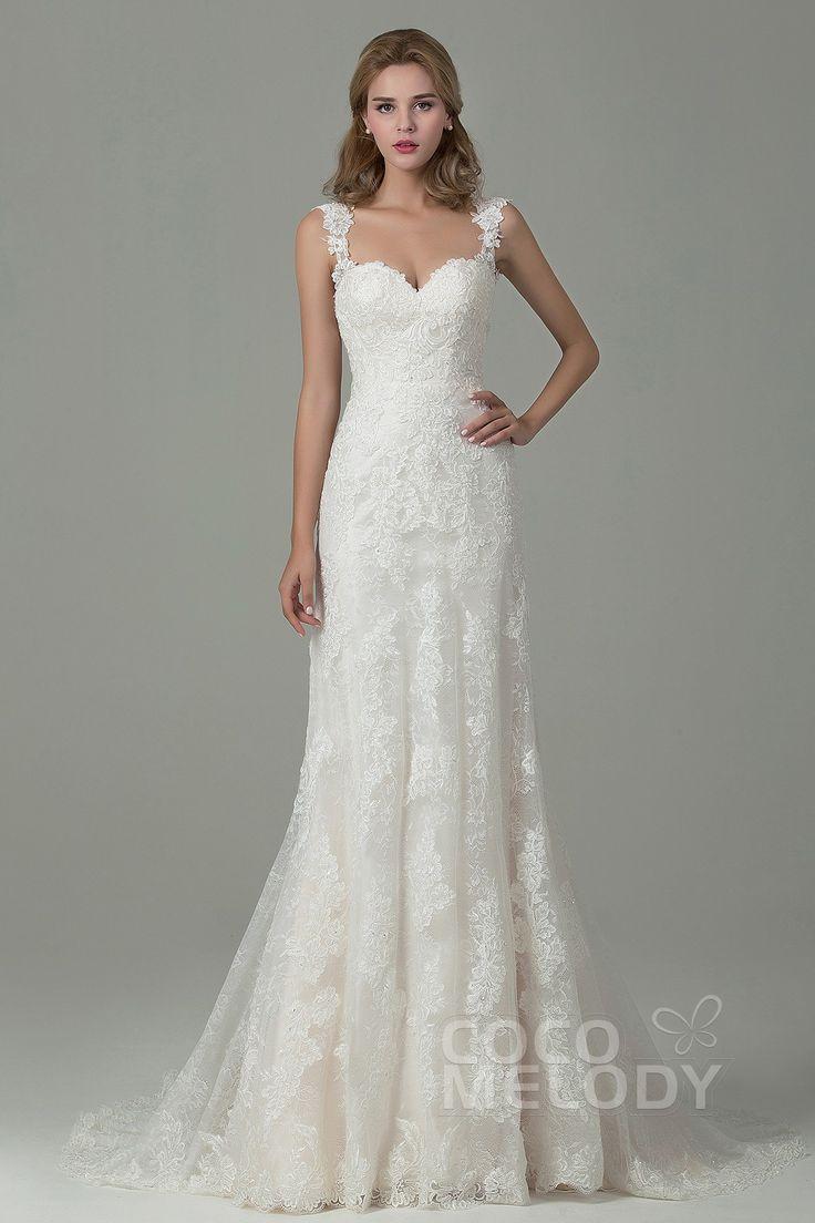 natural wedding dresses ivory wedding dress Fabulous Sheath Column Straps Natural Train Lace Ivory Champagne Sleeveless Backless Wedding Dress with