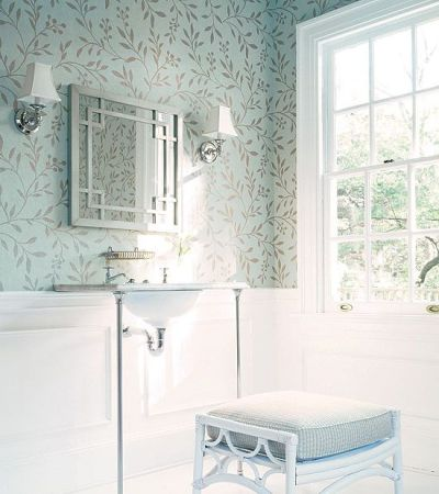 Love wallpaper above molding & chair rail! Works great for a powder room. #Thibaut's Joli Trail ...