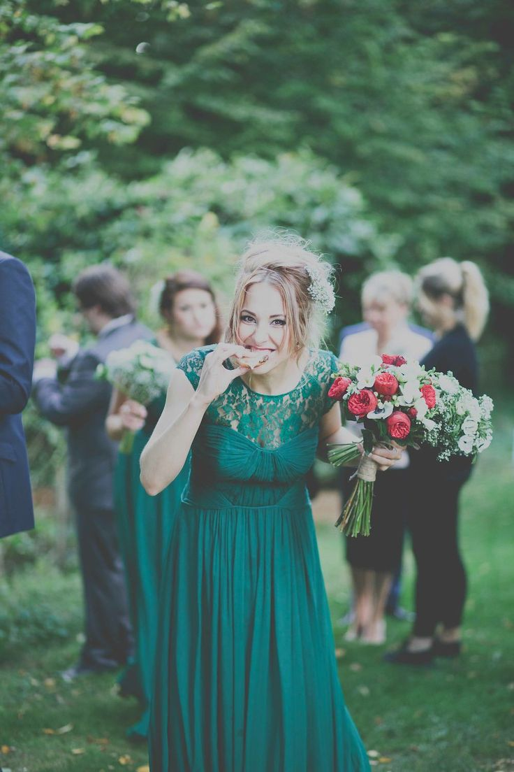 emerald wedding dresses green wedding dresses A Maggie Sottero Wedding Gown with gypsophila baby s breath flower crown for a wedding at Cripps Barn including Coast forest green bridesmaid dresses