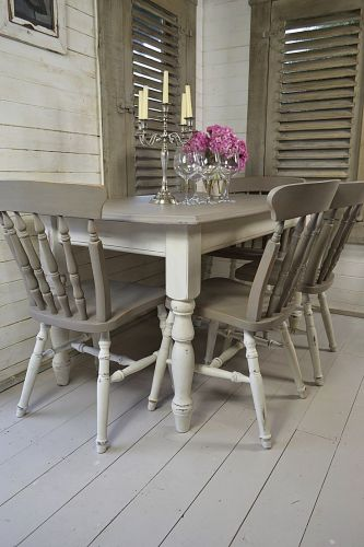 grey table whitewash kitchen table Dine in style with our stunning grey and white split dining set Painted in Annie