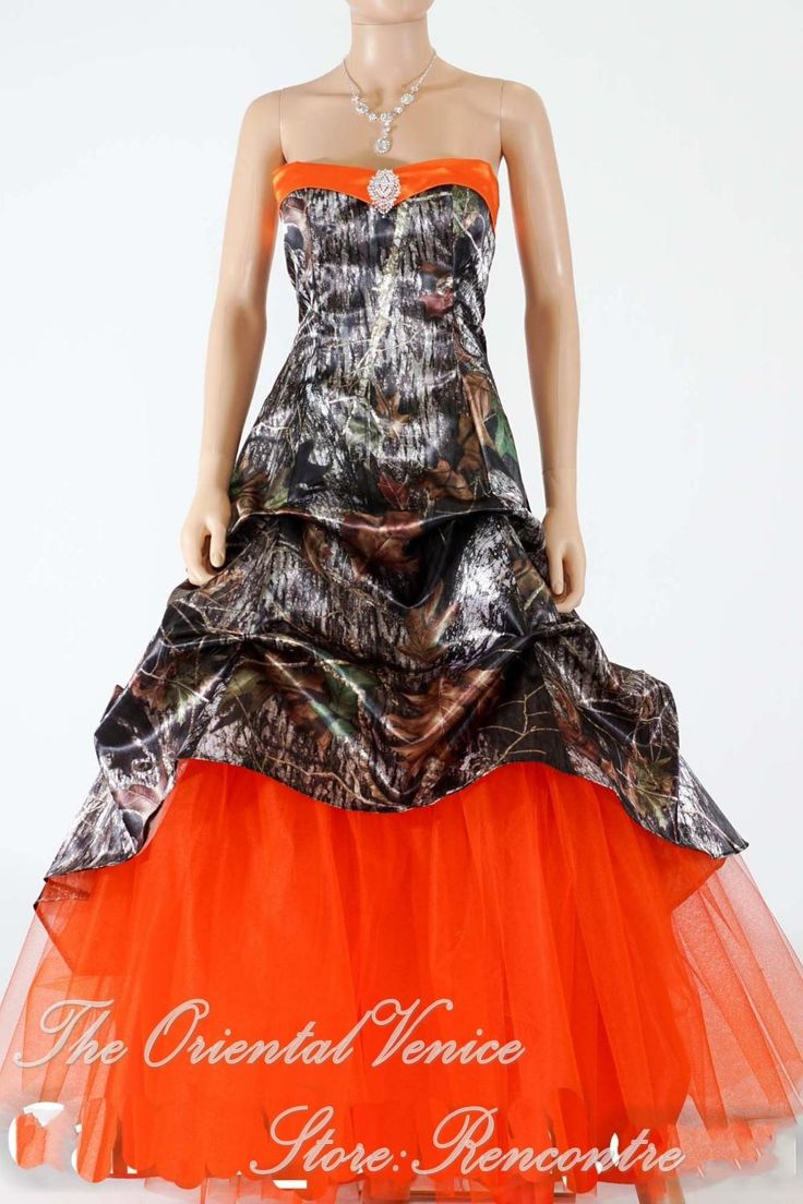 camouflage wedding camo dresses for wedding Hunter Orange Camo Wedding Dress New Realtree Camouflage Wedding Gowns Lace up Back Bridal