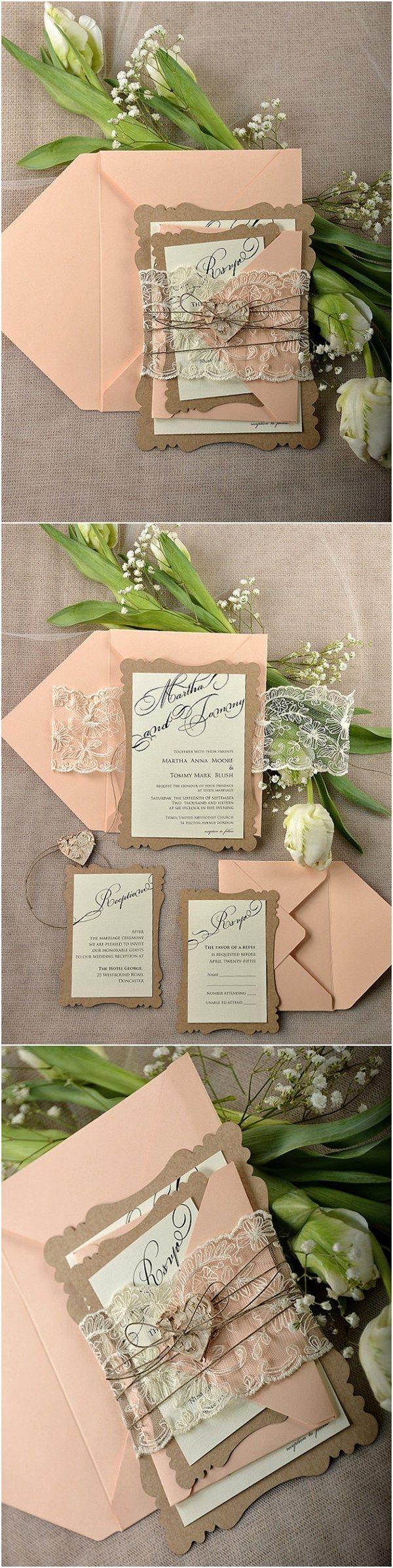 diy wedding invitation kits wedding invitations kits Rustic Eco Peach Lace Laser Cut Wedding Invitation Kits