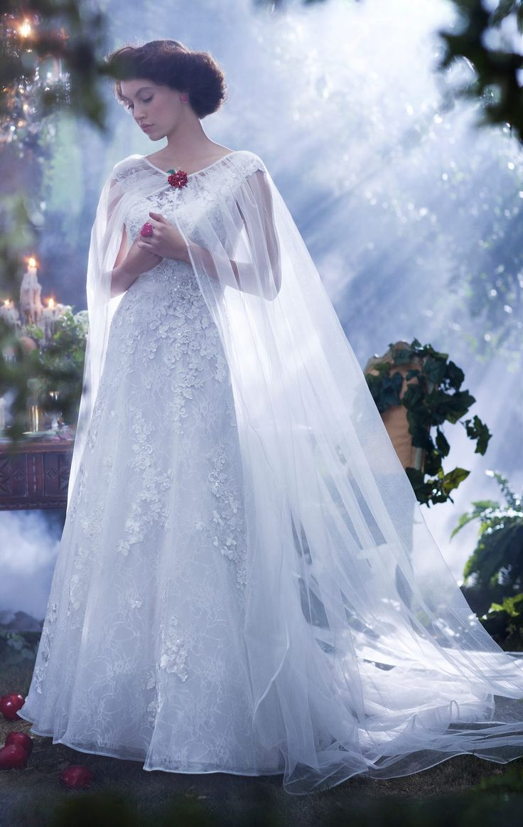 snow white wedding dress disney themed wedding dresses I don t like this dress and the cape is a little plain But it s interesting I m going to have a cape and the snow white inspired wedding dress has a cape