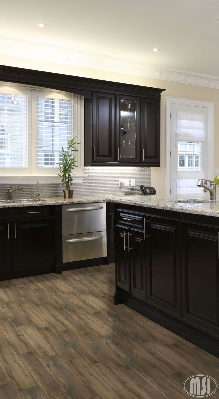 granite flooring white kitchen dark floors Moon White Granite Dark Kitchen Cabinets