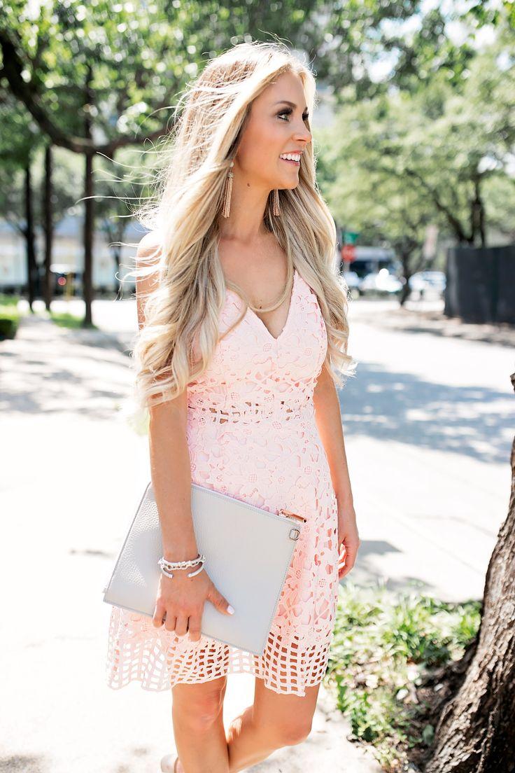 summer wedding guest dresses summer wedding guest dress Summer Wedding Guest Dress Blush Pink Laser Cut Lace Dress