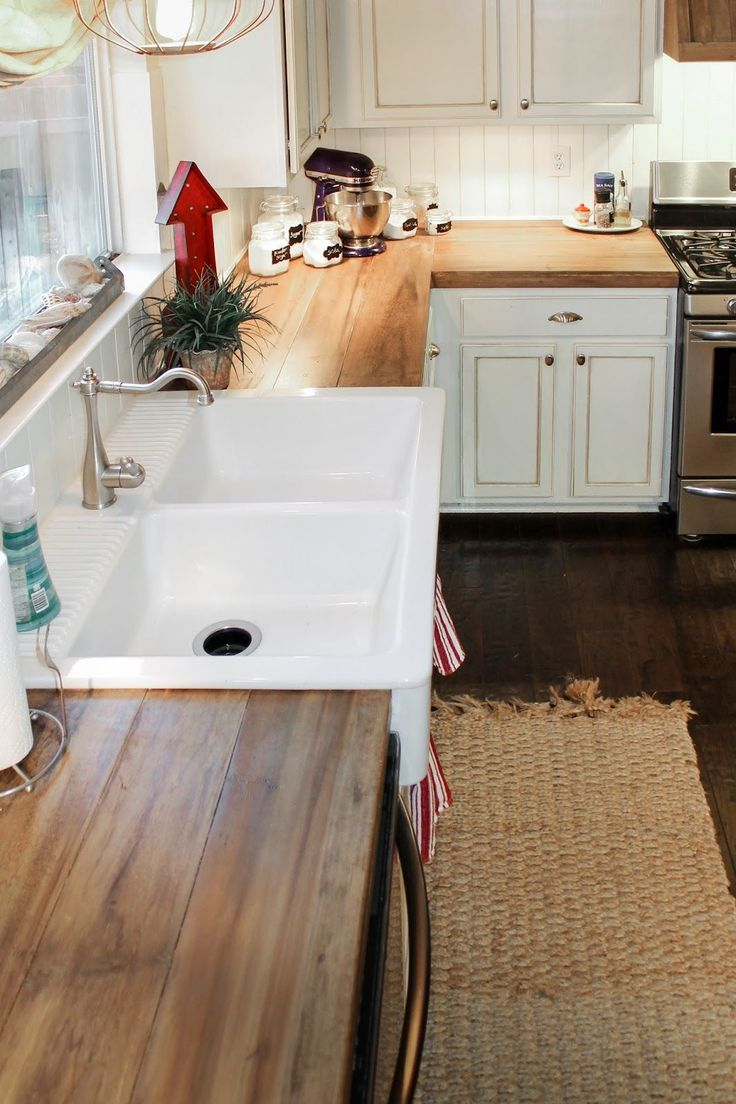 wood staining refinishing wood countertops kitchen How to Create Faux Reclaimed Wood Countertops