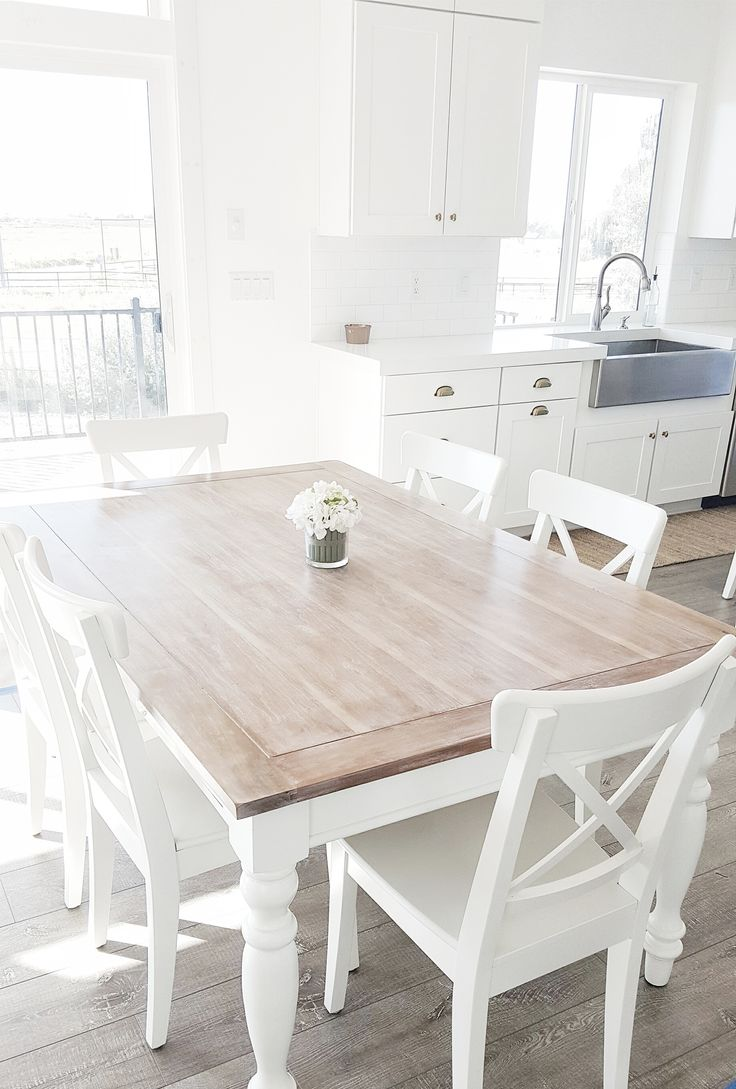 white chairs small white kitchen table whitelanedecor whitelanedecor Dining room table liming wax table top stainless steel farm