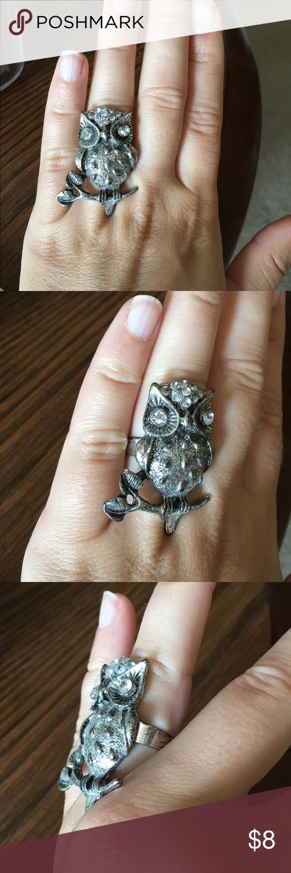 owl ring owl wedding ring Silver Owl Ring Gorgeous statement Owl Ring Adjustable band Check out my closet for