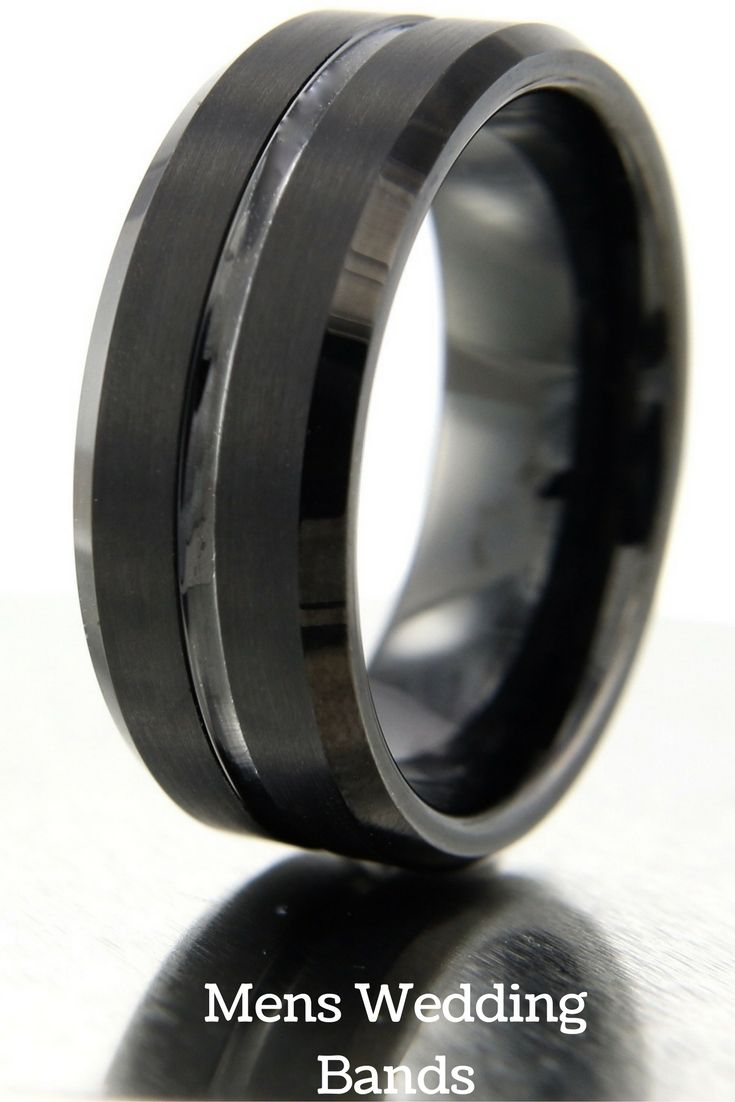 black wedding bands black wedding ring 8mm Black Tungsten Wedding Band With Polished Center Channel Satin Top