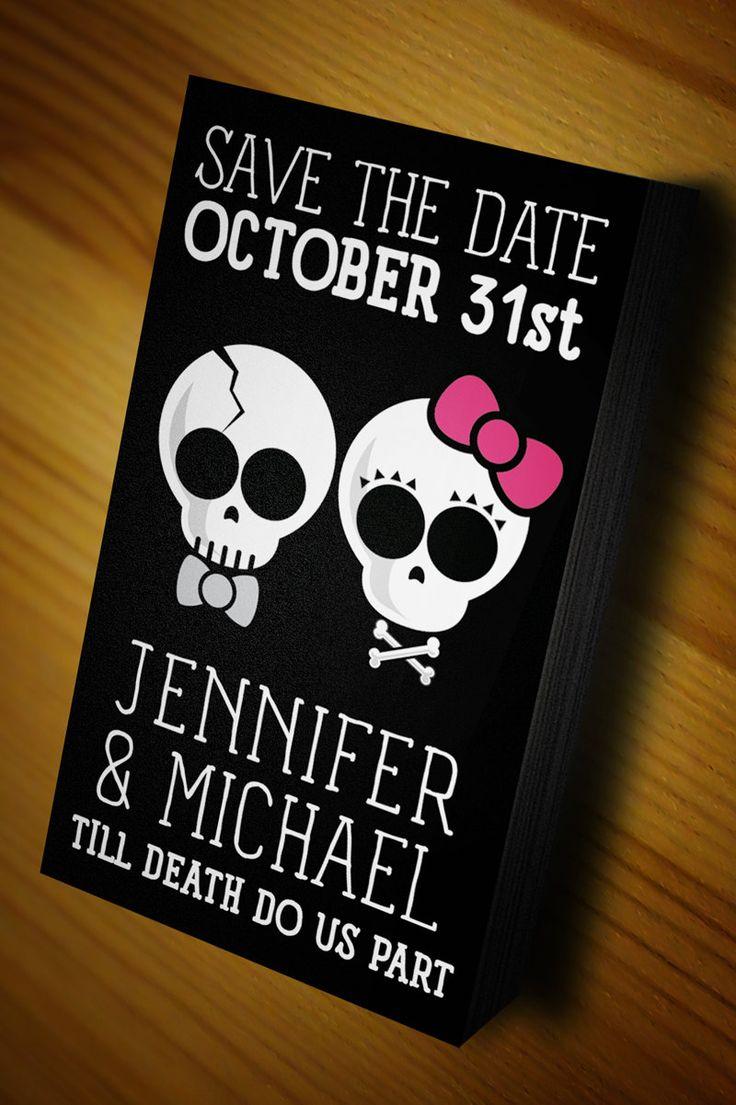 my skull til death wedding ideas skull wedding invitations punk weddings Halloween Wedding Goth Wedding Save The Date by SheSheMcBride