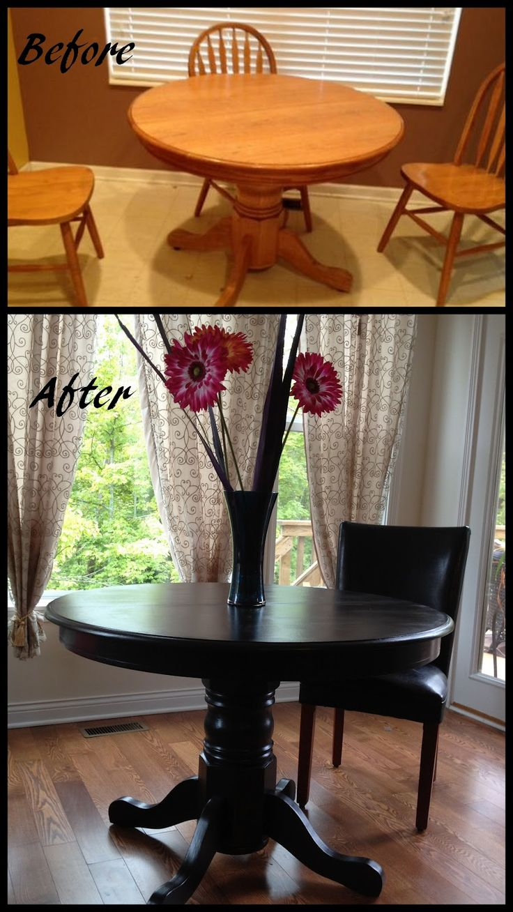 painted oak table painted kitchen tables Kitchen table redo transforms the whole space