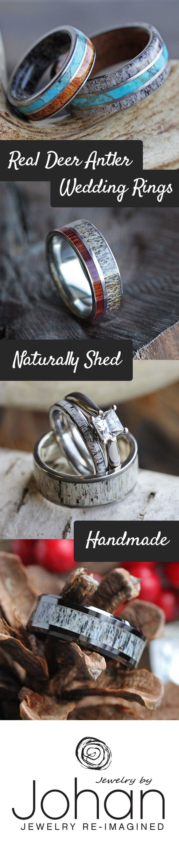 deer antler ring antler wedding band Natural deer antler wedding rings perfect for outdoor enthusiasts and hunters