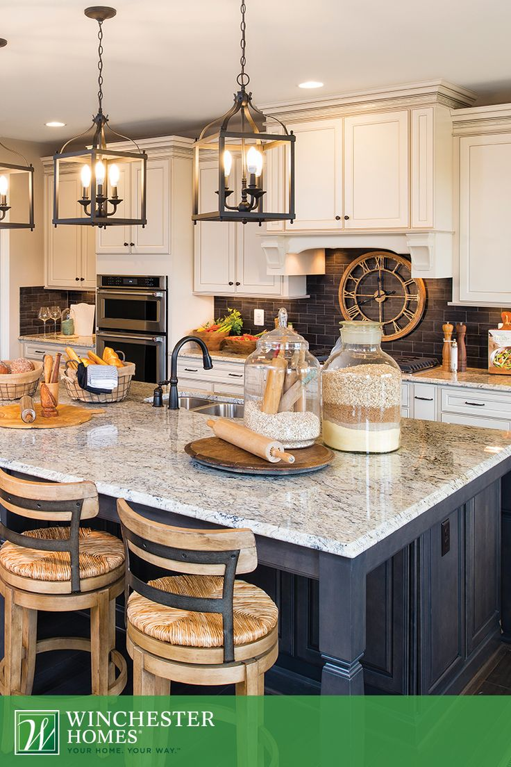 rustic lighting farmhouse kitchen lighting fixtures Timeless elegance is the key to the kitchen in the Raleigh model Three chandeliers illuminate Kitchen LampsFarmhouse