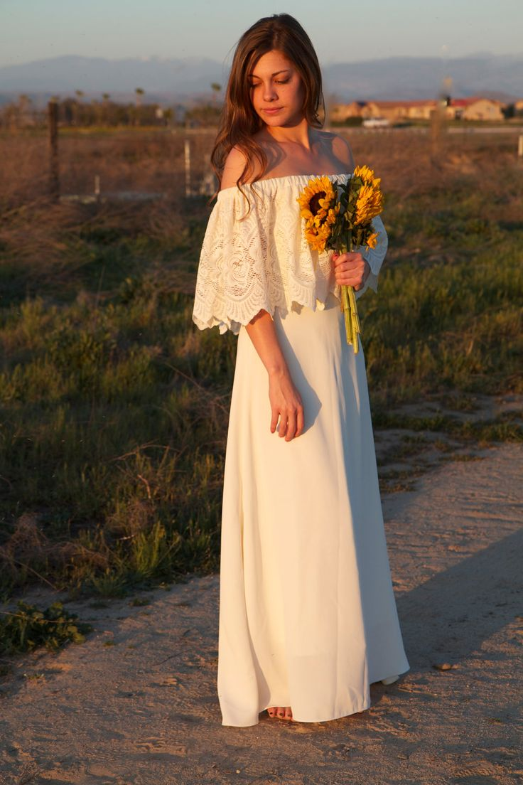 boho chic weddings simple bohemian wedding dresses Lace off the shoulder wedding dress with sunflowers Simple and gorgeous