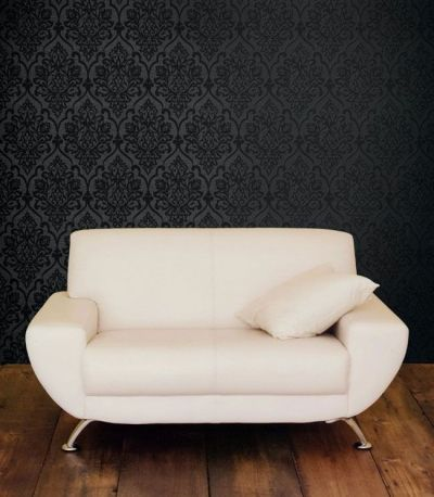 Black Damask on Darky Grey- Accent Wall behind couch. Note color of couch and wood floors ...