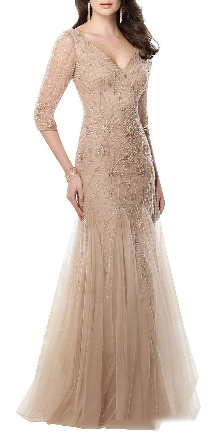 mother of the bride dresses amazon com wedding dresses Butterfly Paradise Elegant Tan V Neck Beading Mother Wedding Dress at Amazon Women s Clothing store
