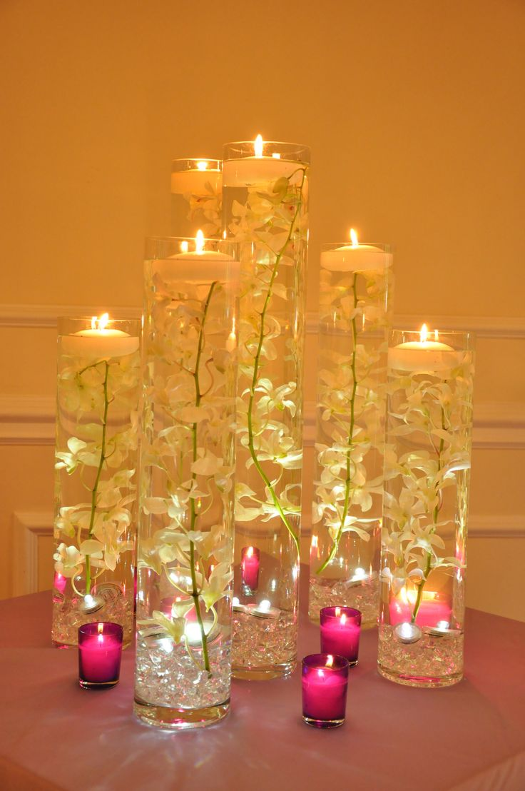 chic and cheap wedding flowers cheap wedding decorations Simple yet elegant candle centerpiece idea wedding flowers