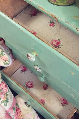 Paper Lined Drawers - simple dresser painted seafoam green - Vintage Home: The Big Event! 24th ...
