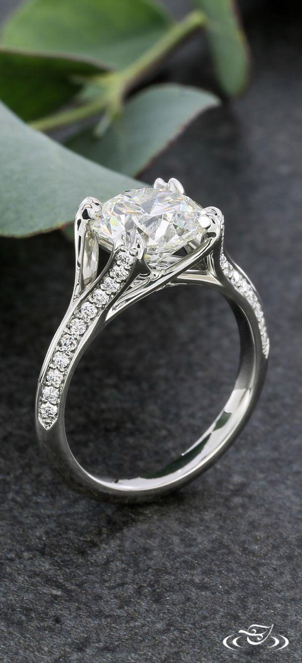 platinum engagement rings wedding ring designers Elegant Platinum Diamond Melee Engagement Ring Green Lake Jewelry