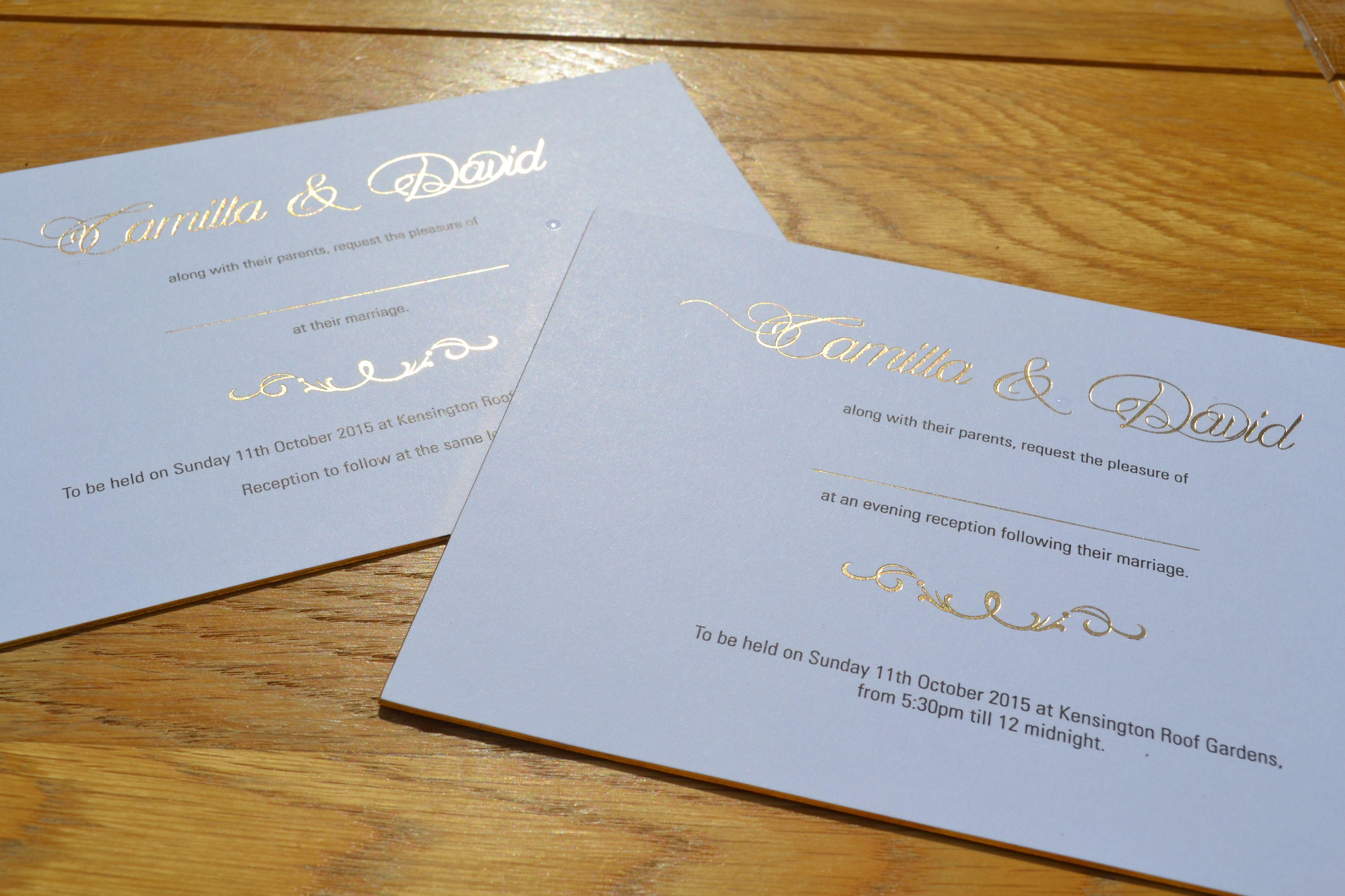 wedding invitations printing Wedding invitations printed in gold foil black litho flat print on gold gilt edged cards
