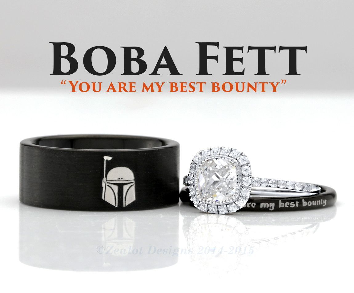 star wars wedding bands Star Wars Boba Fett His and Her s 3piece Silver Custom Engagement SET Tungsten Wedding Band Ring