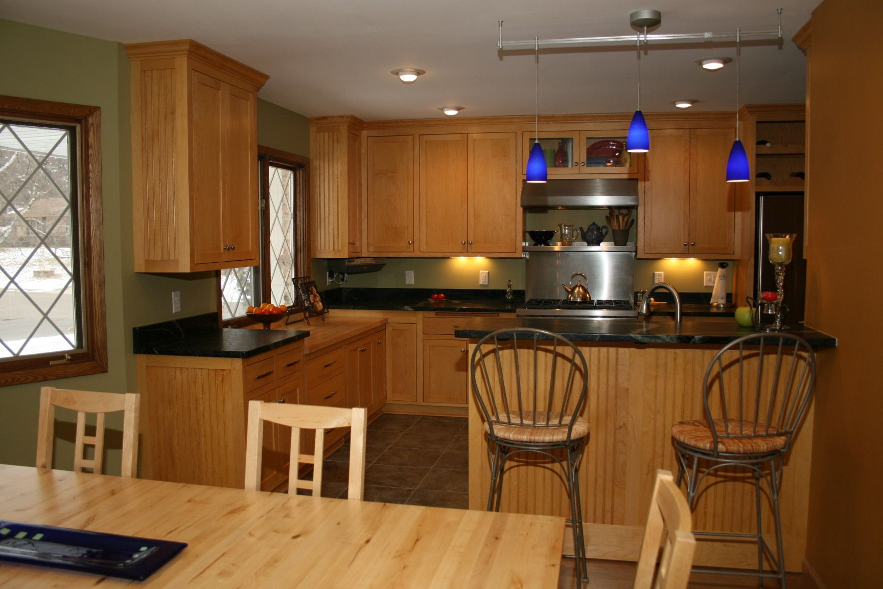 soapstone kitchen countertops Maple cabinets and soapstone countertops