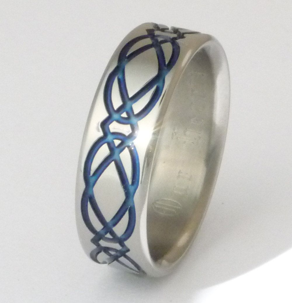 gay mens wedding rings Blue Titanium Celtic Wedding Band or Promise Ring with Unending Knot ck2 Shown Here 7mm