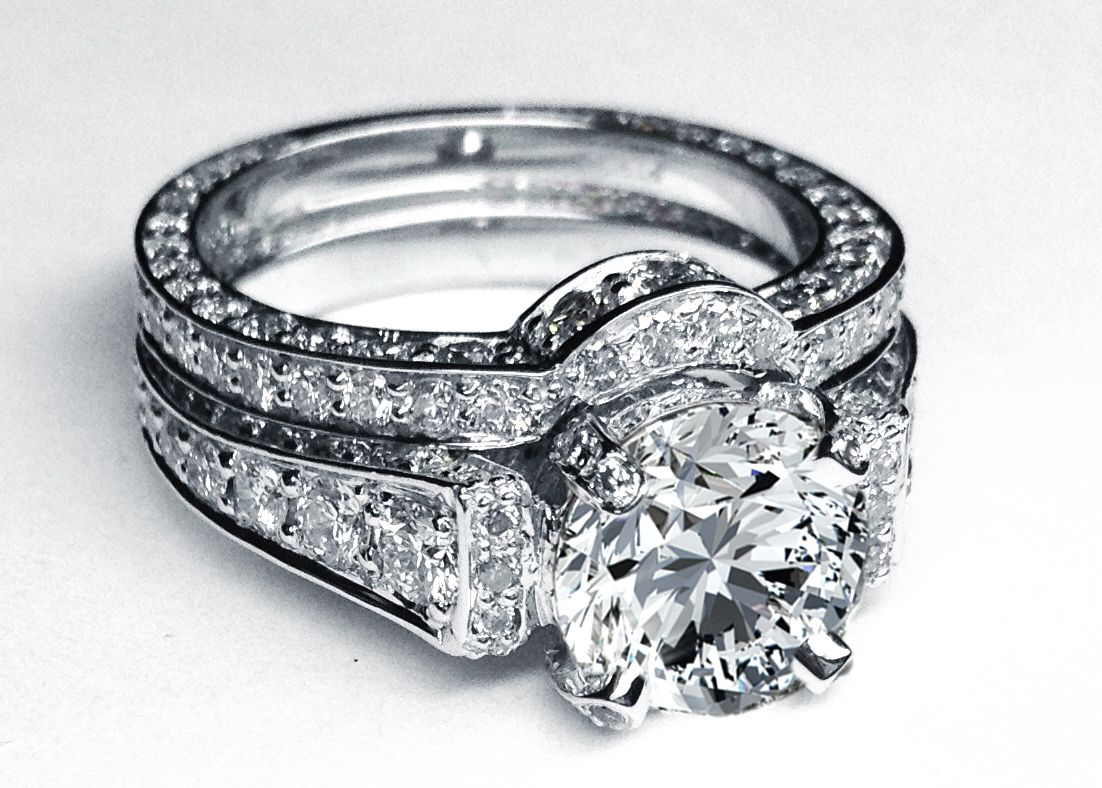 wedding ring diamond Large Round Diamond Cathedral Graduated pave Engagement Ring in 14K White Gold with Matching Pave Wedding