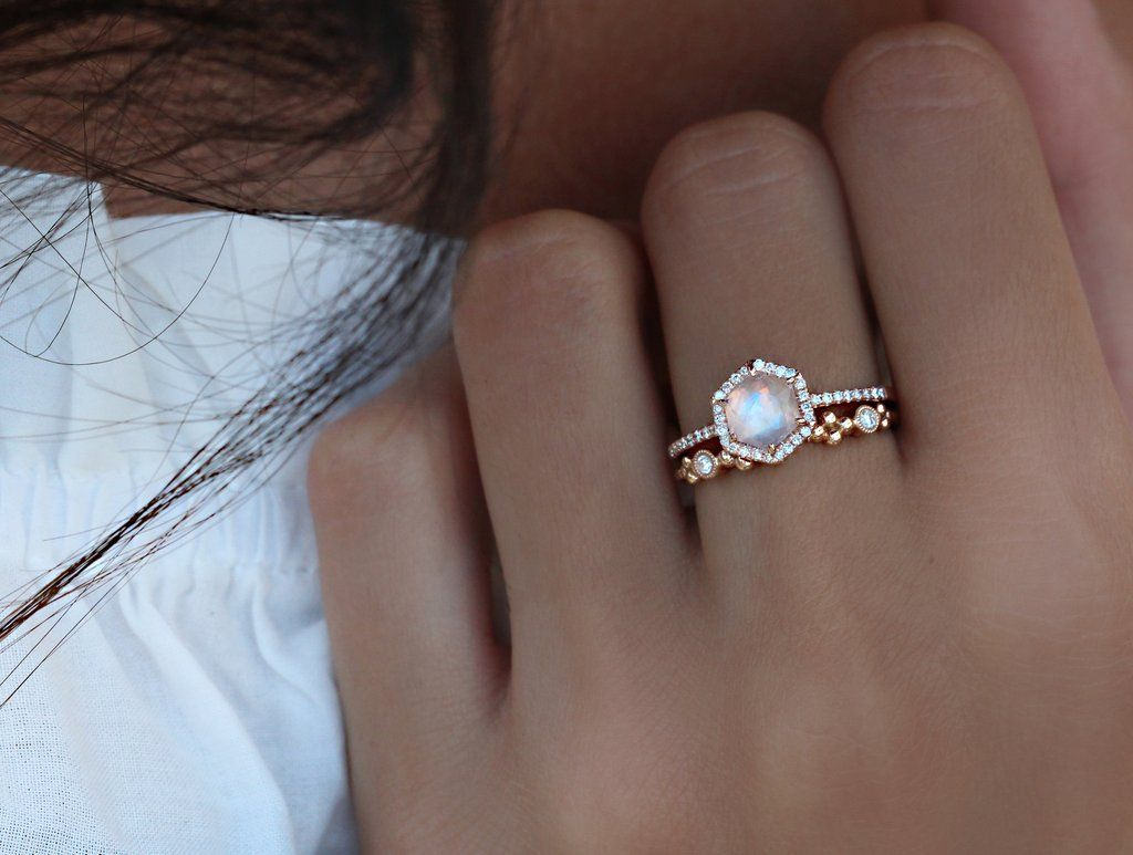 moonstone engagement rings moonstone wedding ring sets 14kt gold and diamond moonstone hex ring
