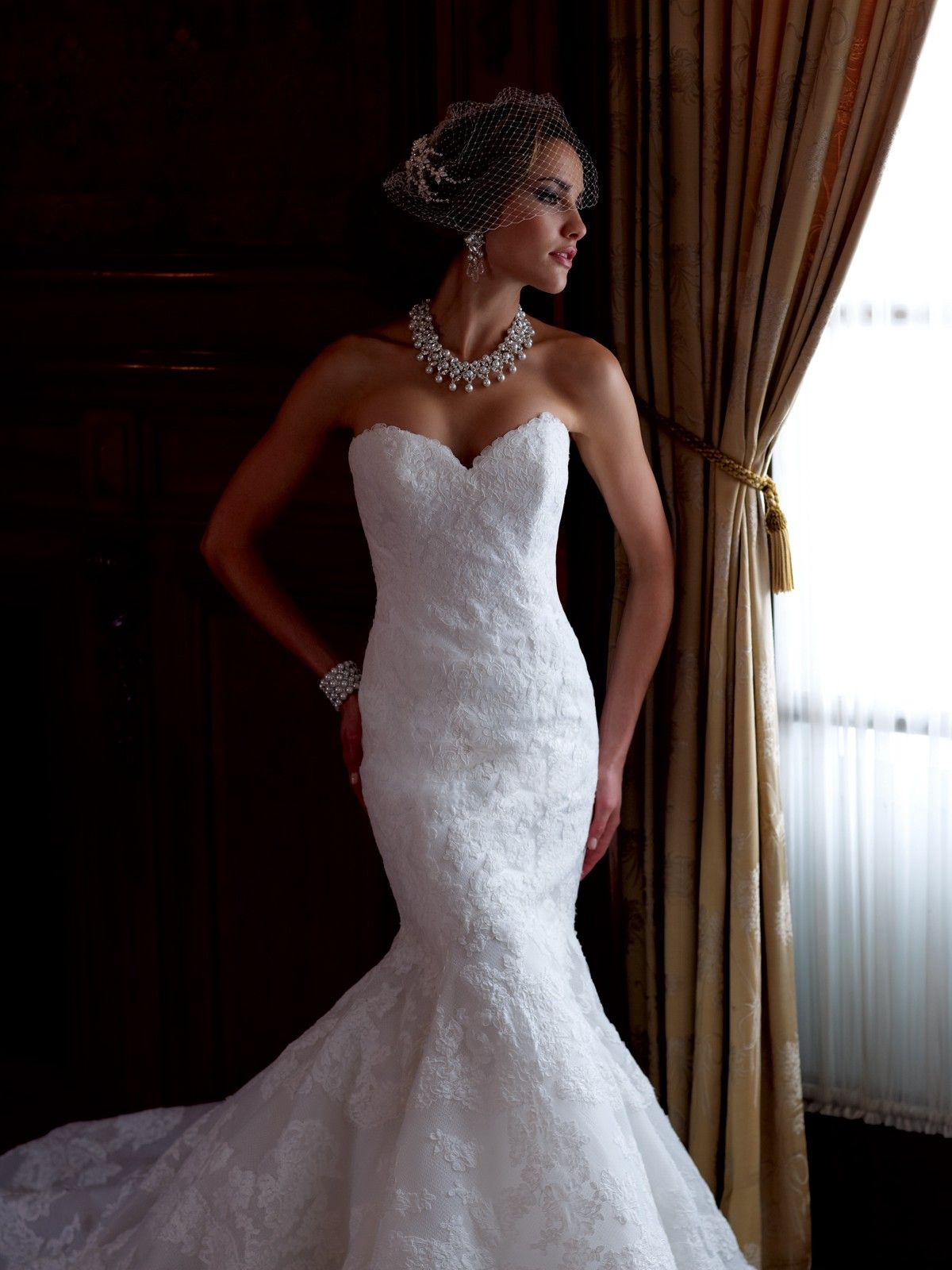mermaid wedding dresses Sexy Sweetheart Chapel Train Lace Trumpet Mermaid Wedding Dress With Appliques Wmc