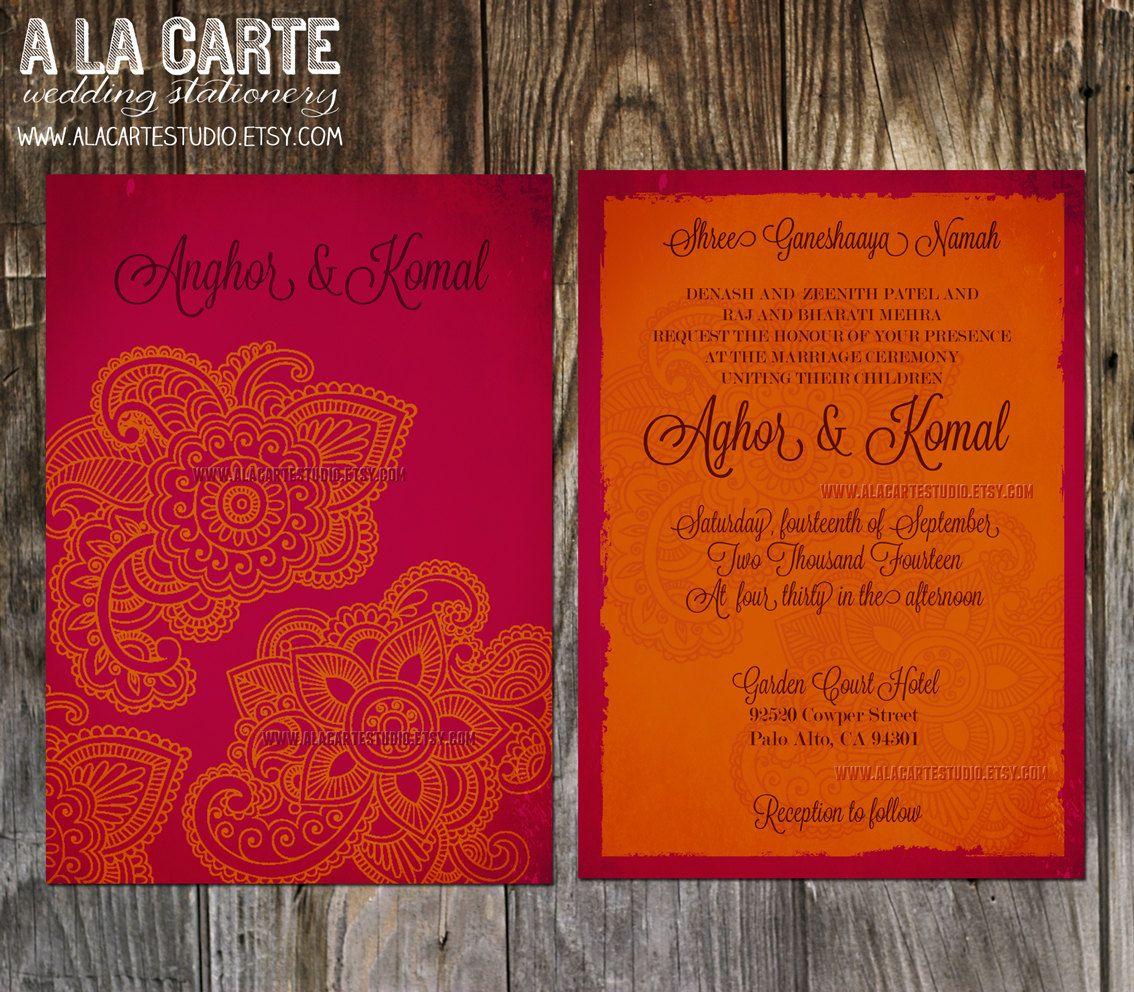 indian wedding invitation Indian Style Wedding Invitation in orange red Indian Arabic Henna decoration exotic wedding invitation Indian party gold hot pink fuchsia