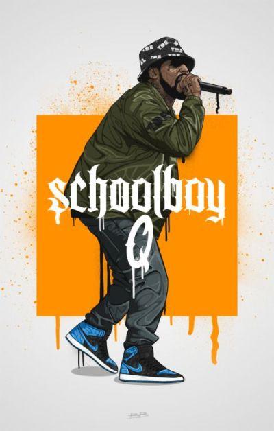 schoolboy q illustration | All Hip Hop | Pinterest | Illustrations, Hip hop art and Street art