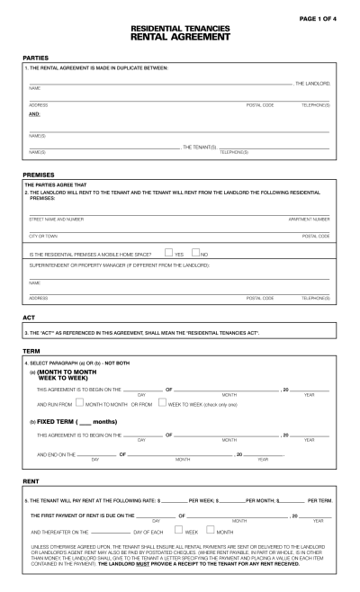 Free Property Free Rental Application Forms California Pdf ... - contract forms free   Real ...