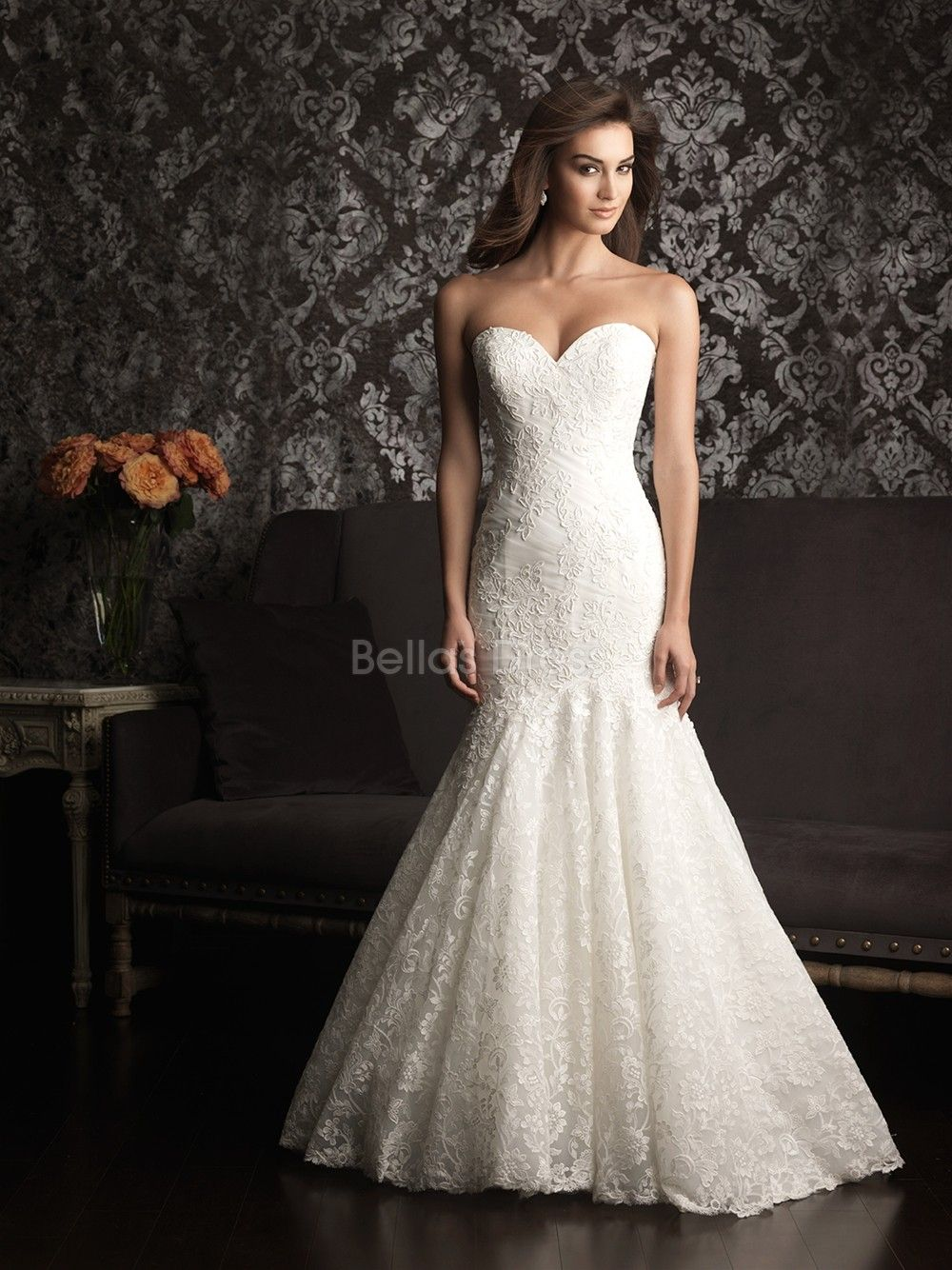 lace backless wedding dress Luxurious Mermaid Lace Court Train Sweetheart Wedding Dresses With Buttons