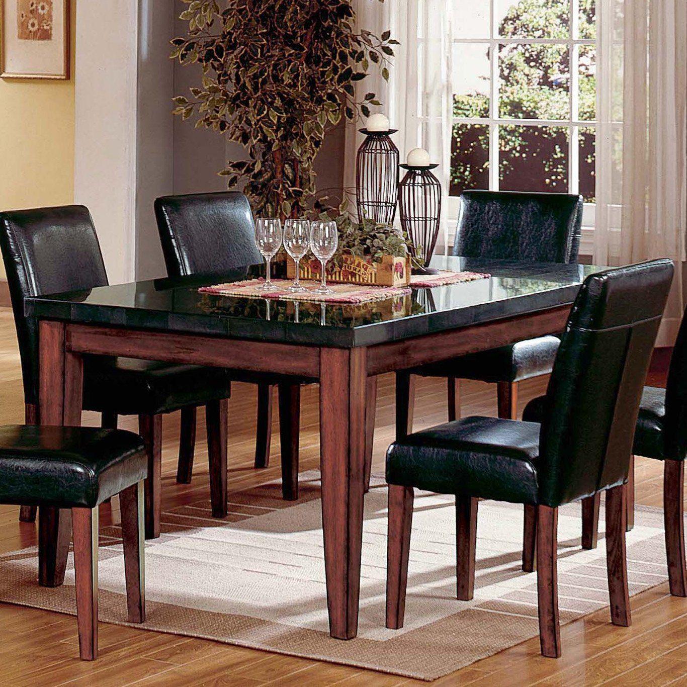 granite kitchen table Steve Silver Montibello Granite Top Rectangular Table Dining Tables at Hayneedle